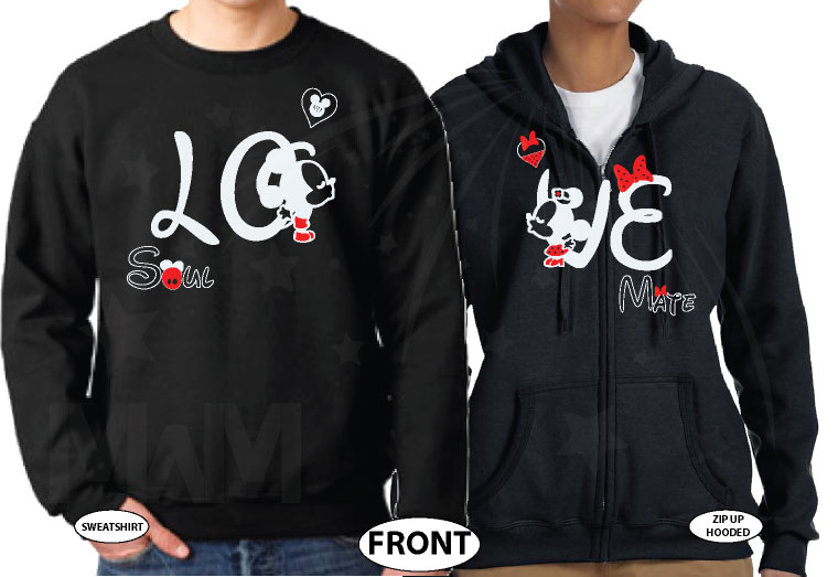 500192 Adorable matching Soulmate Love shirts with Mickey and Minnie Kiss for Mr and Mrs (custom names and date), married with mickey, black unisex sweater and pullover zip up hooded