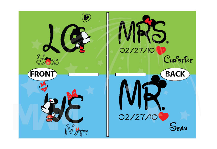 500192 Adorable matching Soulmate Love shirts with Mickey and Minnie Kiss for Mr and Mrs (custom names and date), married with mickey