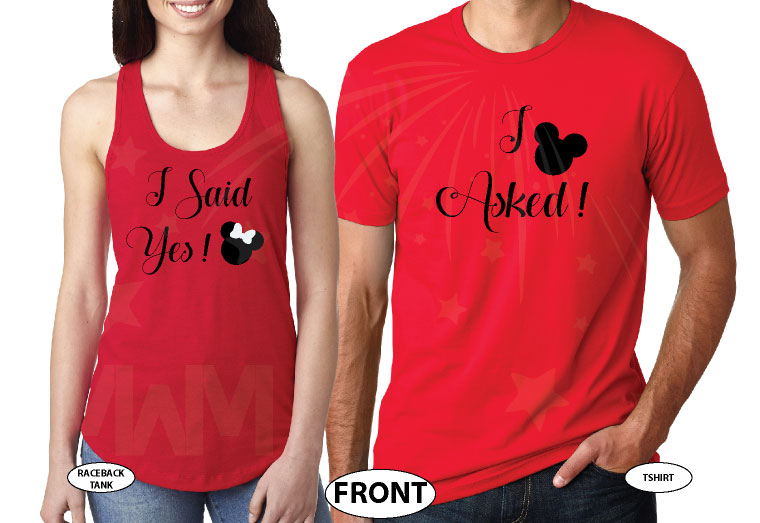 I Asked I Said Yes Mickey and Minnie Mouse Heads Ears and Bow for Future Bride and Groom, married with mickey, red mens tshirt and ladies tank top