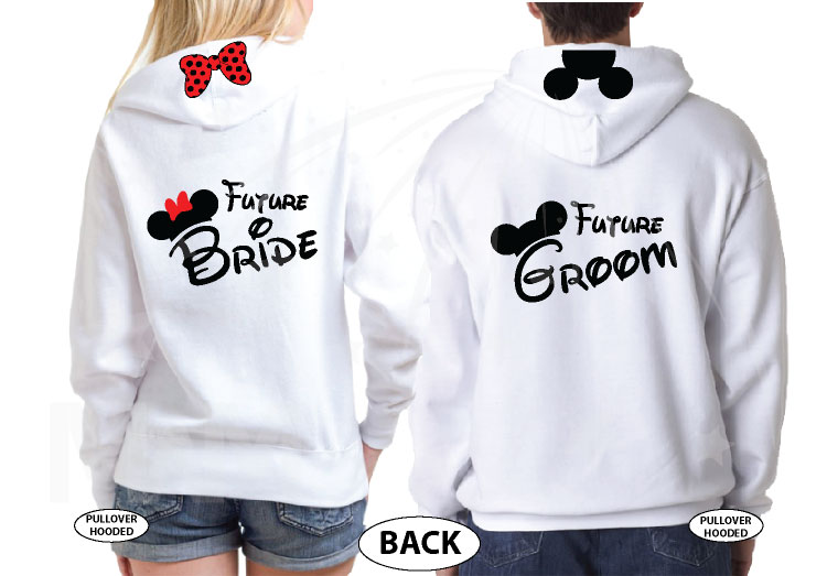I Asked I Said Yes Mickey and Minnie Mouse Heads Ears and Bow for Future Bride and Groom, married with mickey, white unisex pullover hoodies