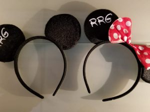 Custom set of Mickey and Minnie matching Ears Walt Disney World party his hers black gift idea bridesmaid surprise add personalize name on, married with mickey