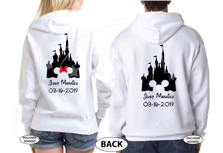 Personalized cutest Disney Mr and Mrs matching shirts with Cinderella Castle for Just Married couples with wedding date, married with mickey, white pullover hoodies