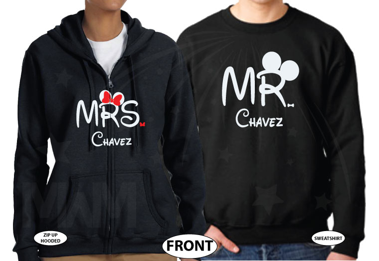 Personalized cutest Disney Mr and Mrs matching shirts with Cinderella Castle for Just Married couples with wedding date, married with mickey, black sweaters