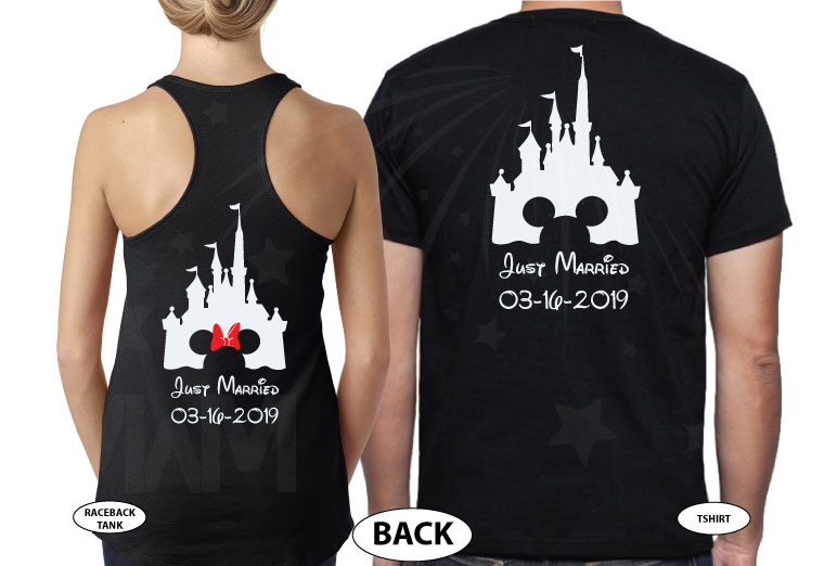 Personalized cutest Disney Mr and Mrs matching shirts with Cinderella Castle for Just Married couples with wedding date, married with mickey, black tee and tank