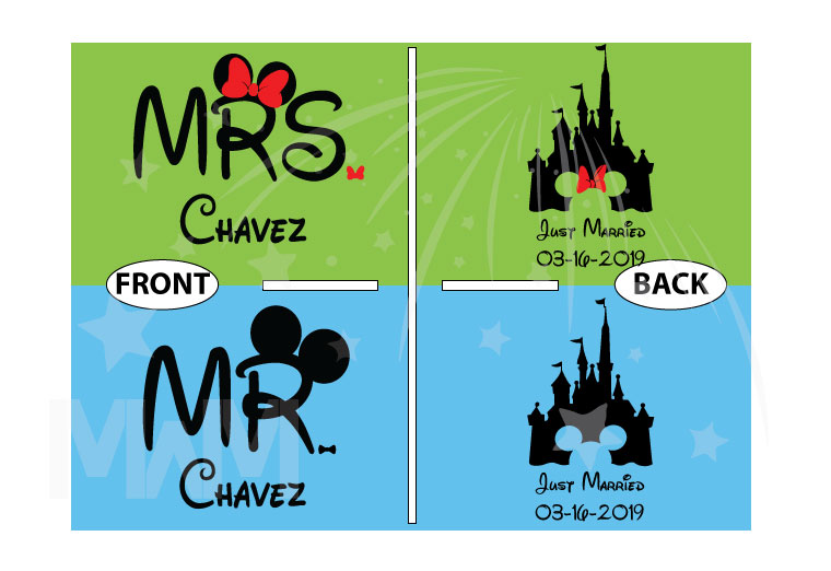 Personalized cutest Disney Mr and Mrs matching shirts with Cinderella Castle for Just Married couples with wedding date, married with mickey