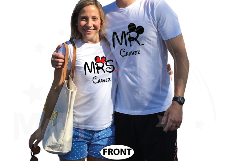 Personalized cutest Disney Mr and Mrs matching shirts with Cinderella Castle for Just Married couples with wedding date, married with mickey, white tshirts