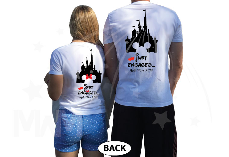 Personalized adorable matching couple t-shirts Disney Just engaged with wedding date for future Mr and future Mrs, etsy store plus sizes 5XL, married with mickey, white t-shirts