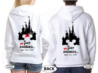 Personalized adorable matching couple t-shirts Disney Just engaged with wedding date for future Mr and future Mrs, etsy store plus sizes 5XL, married with mickey, white unisex pullovers