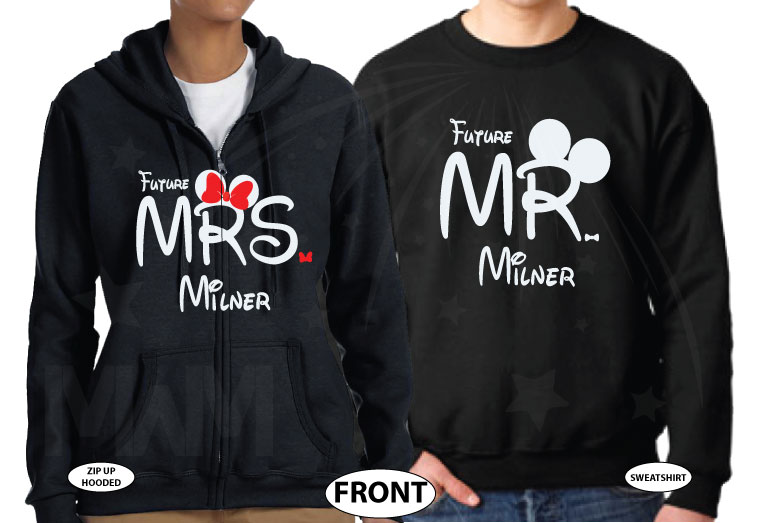Personalized adorable matching couple t-shirts Disney Just engaged with wedding date for future Mr and future Mrs, etsy store plus sizes 5XL, married with mickey, black sweaters