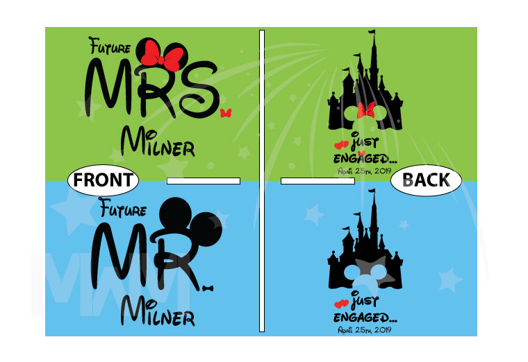 Personalized adorable matching couple t-shirts Disney Just engaged with wedding date for future Mr and future Mrs, etsy store plus sizes 5XL, married with mickey