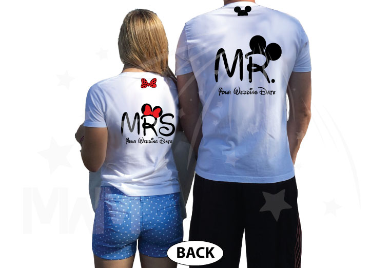 Adorable matching couple apparel for Prince and Princess with Cinderella castle 2019, Disney inspired, Mr and Mrs with custom wedding date, married with mickey, white tshirts