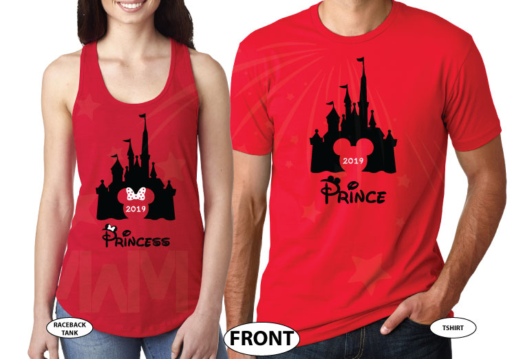 Adorable matching couple apparel for Prince and Princess with Cinderella castle 2019, Disney inspired, Mr and Mrs with custom wedding date, married with mickey, red tee and tank