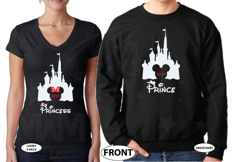 Adorable matching couple apparel for Prince and Princess with Cinderella castle 2019, Disney inspired, Mr and Mrs with custom wedding date, married with mickey, black ladies v neck and mens sweater