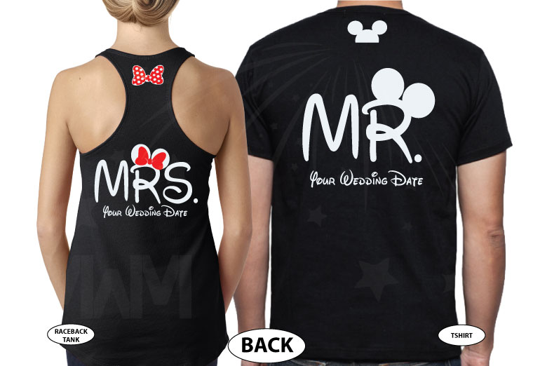 Adorable matching couple apparel for Prince and Princess with Cinderella castle 2019, Disney inspired, Mr and Mrs with custom wedding date, married with mickey, black tee and tank