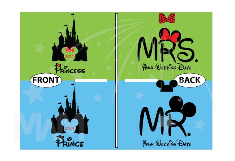 Adorable matching couple apparel for Prince and Princess with Cinderella castle 2019, Disney inspired, Mr and Mrs with custom wedding date, married with mickey