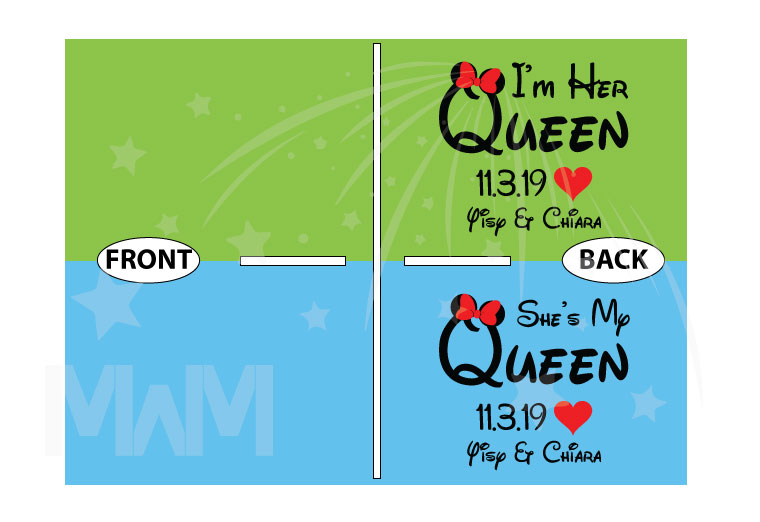 LGBT Lesbian custom matching gifts couples shirt for I'm Her Queen She's My Queen with names hearts and date anniversary girlfriend bisexual, married with mickey
