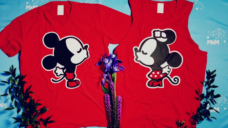 Personalized valentines day gift for him honeymoon Disney Ms and Mr dating matching cute couples tees with mickey ears kissing minnie mouse, married with mickey, red shirts