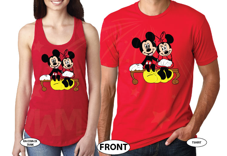500222 Mickey and Minnie Mouse Sitting Hugging on a Bench front and back designs, married with mickey, red tee and tank