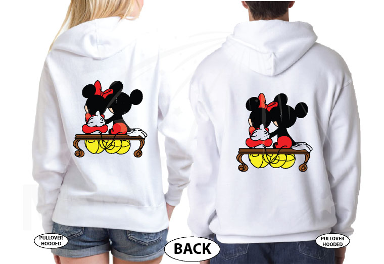 500222 Mickey and Minnie Mouse Sitting Hugging on a Bench front and back designs, married with mickey, white hooded pullovers