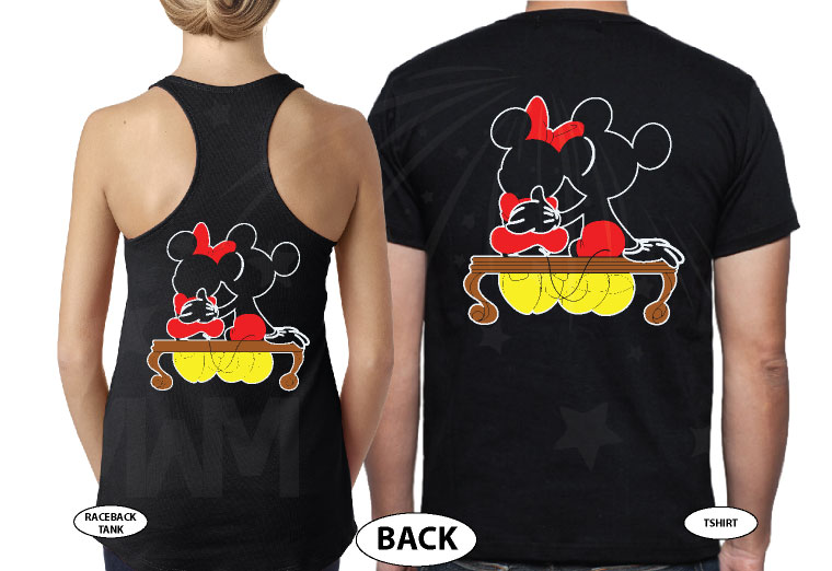 500222 Mickey and Minnie Mouse Sitting Hugging on a Bench front and back designs, married with mickey, black tee and tank
