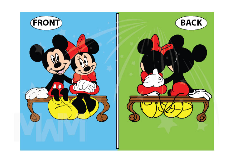 500222 Mickey and Minnie Mouse Sitting Hugging on a Bench front and back designs, married with mickey