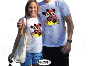 500222 Mickey and Minnie Mouse Sitting Hugging on a Bench front and back designs, married with mickey, white tshirts