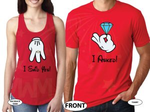 Cutest proposal shirts, I asked She said Yes! with awesome diamond ring Mickey and Minnie Mouse hands theme, married with mickey, red ladies tank top and mens tshirt