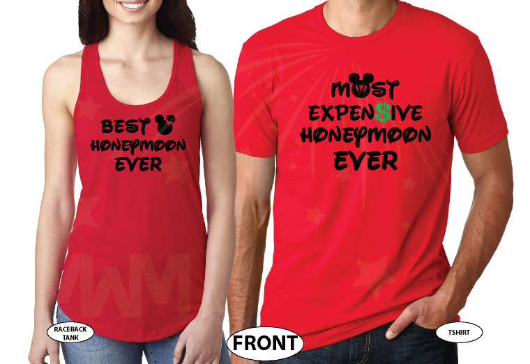 Best honeymoon ever with Minnie Mouse bride, Most expensive disneymoon ever with Mickey Mouse groom, married with mickey, red mens t-shirt and ladies tank top