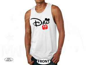 Dad t shirt Customized Disney for mens gift, Mickey Mouse ears and cute red pants, Disney World family vacation parent etsy store hoodie lol, married with mickey, white mens tank top