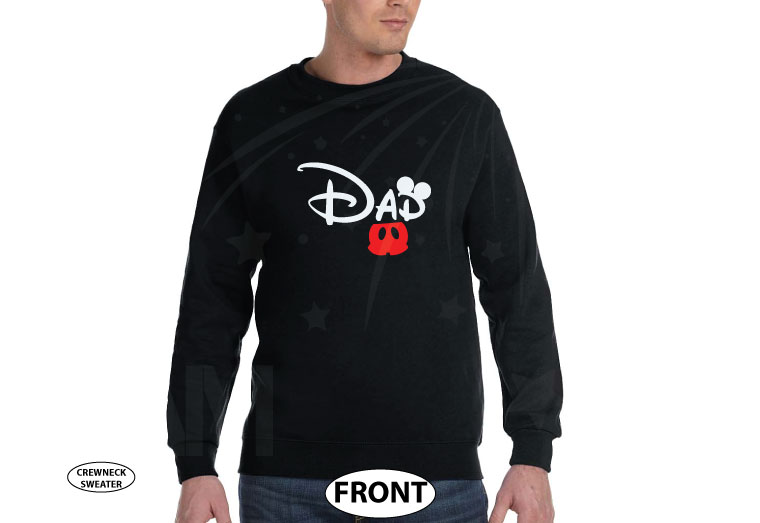 Dad t shirt Customized Disney for mens gift, Mickey Mouse ears and cute red pants, Disney World family vacation parent etsy store hoodie lol, married with mickey, black sweater