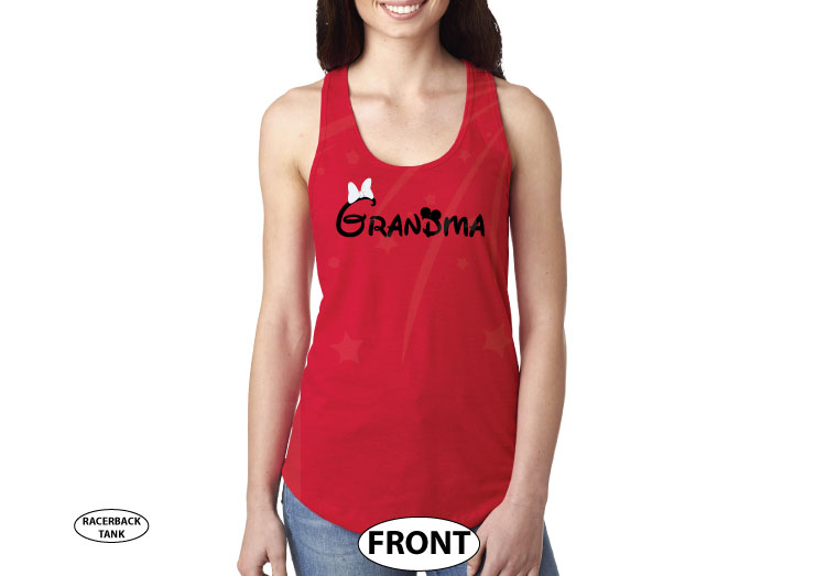 Grandma shirt Personalized Disney gift, Minnie Mouse ears and cute red bow, Disney World family vacation trip Disney for etsy clothing store, married with mickey, red ladies tank top