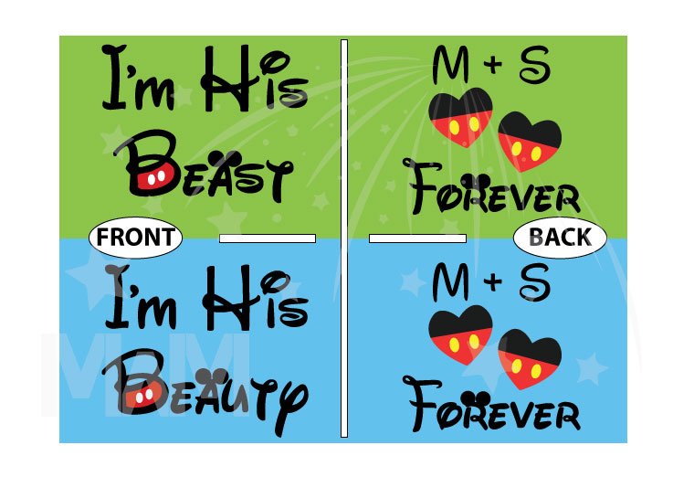 Customized Disney couple shirt for LGBT Gay shirts couples with initials and hearts I'm His Beauty I'm His Beast adorable matching apparel , married with mickey