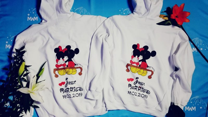 Disney inspired matching wedding anniversary couple shirts for Mr and Mrs Last Name, Disneyland mickey and minnie sweatshirts oversize store, married with mickey, white hoodies
