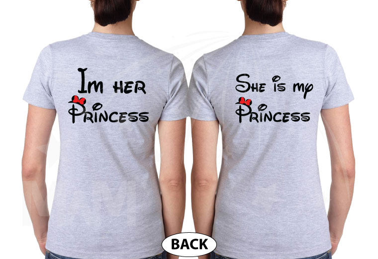 LGBT Lesbian I'm Her Princess She's My Princess With Mickey Mouse Pointing Hands, married with mickey, grey ladies t-shirts
