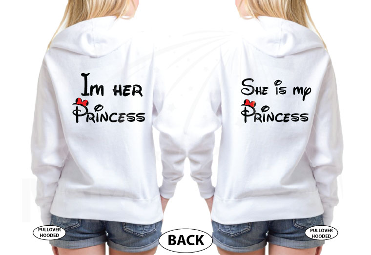 LGBT Lesbian I'm Her Princess She's My Princess With Mickey Mouse Pointing Hands, married with mickey, white hoodies