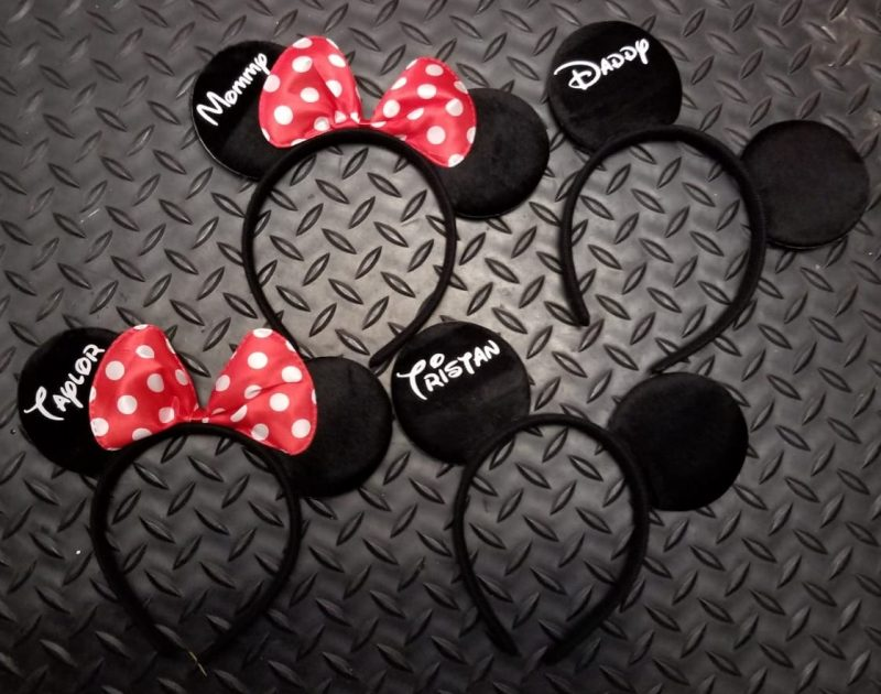 Custom set of Mickey and Minnie matching big ears Walt Disney World party his hers gift idea bridesmaid surprise add personalize name on bow, married with mickey