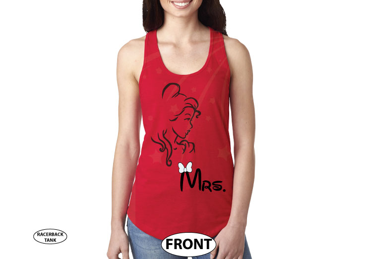 Beauty shirt for Mrs, married with mickey, red ladies tank top
