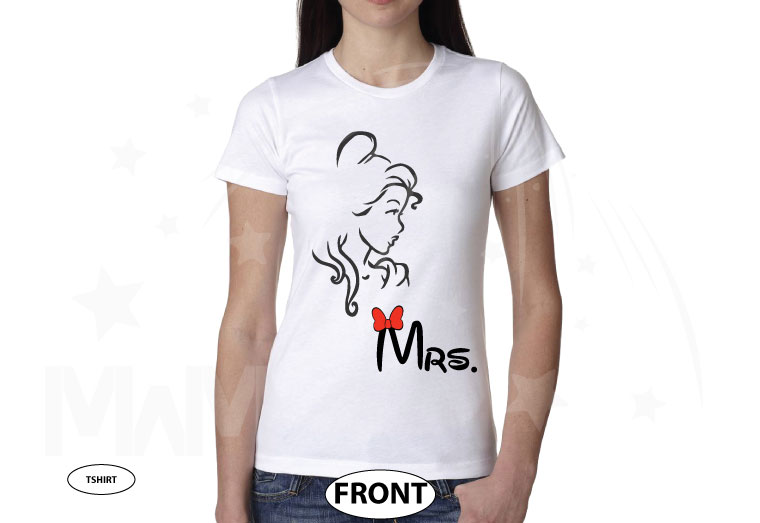 Beauty shirt for Mrs, married with mickey, white ladies t-shirt