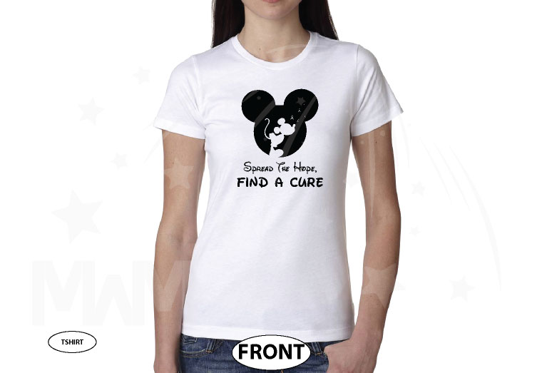Spread The Hope Find a Cure slogan with Mickey Mouse silhouette shirt glitter graphic purple t shirt store custom create make your own etsy, married with mickey, white ladies t-shirt