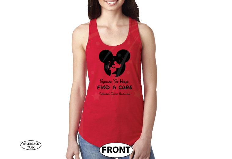 Spread The Hope Find a Cure Childhood Cancer Awareness slogan with Mickey Mouse silhouette shirt store custom create make your own etsy, married with mickey, red racerback ladies tank top