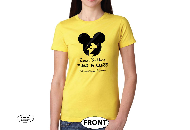 Spread The Hope Find a Cure Childhood Cancer Awareness slogan with Mickey Mouse silhouette shirt store custom create make your own etsy, married with mickey, gold yellow ladies t-shirt