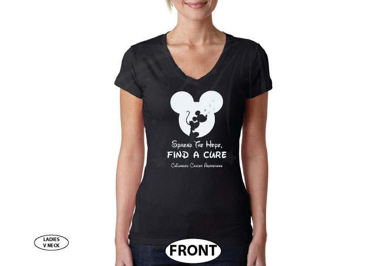 Spread The Hope Find a Cure Childhood Cancer Awareness slogan with Mickey Mouse silhouette shirt store custom create make your own etsy, married with mickey, black ladies v t-shirt