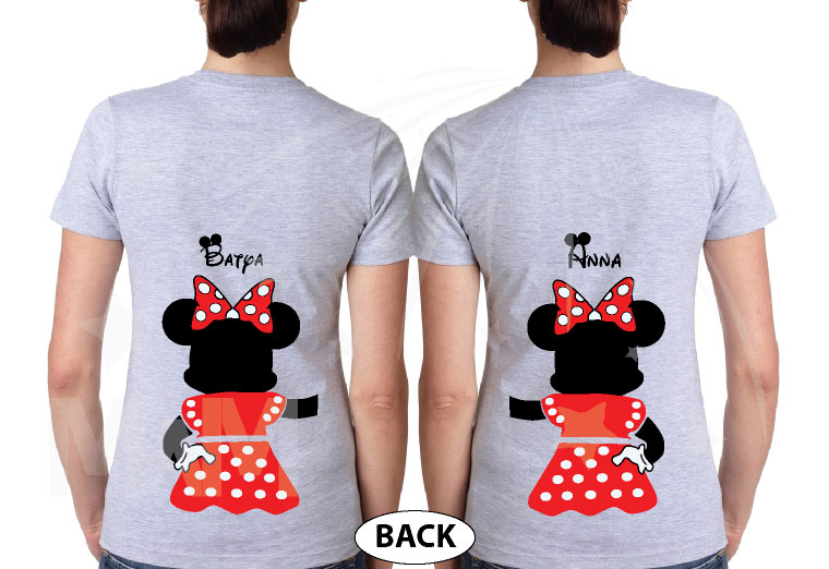 Great gift idea for anniversary LGBTQ Lesbians matching couple shirts Minnie Mouse with cute red bow I'm her holding hands etsy 5XL ladies, married with mickey, ladies grey tees