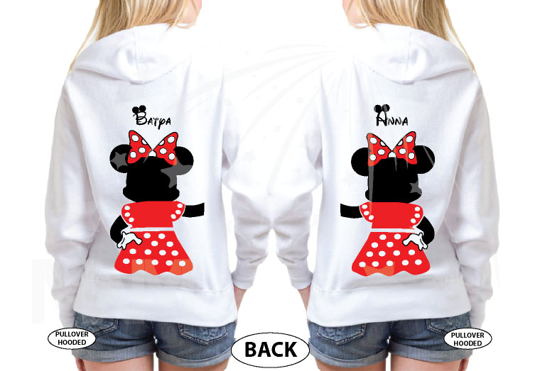 Great gift idea for anniversary LGBTQ Lesbians matching couple shirts Minnie Mouse with cute red bow I'm her holding hands etsy 5XL ladies, married with mickey, ladies white pullover hoodies