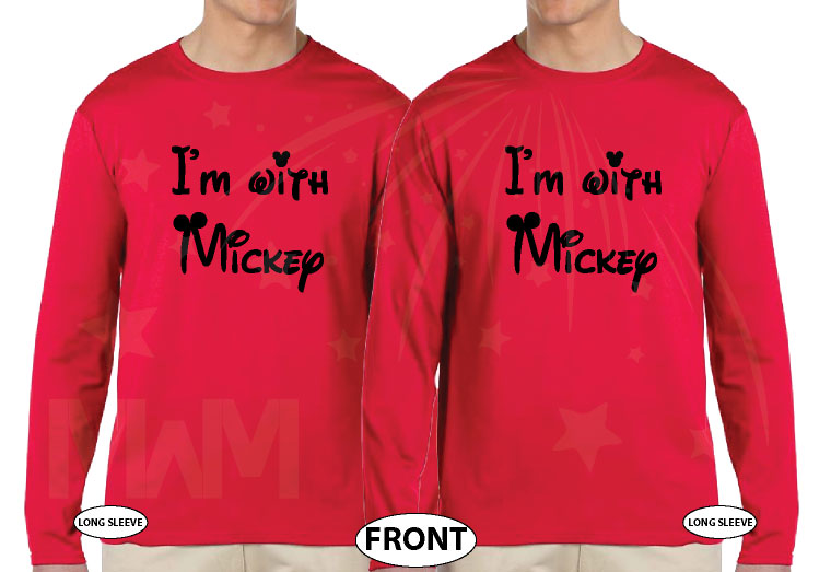 LGBT Couple I'm with Mickey Mouse holding hands big ears head awesome matching Gay sweaters gifts for him his birthday day etsy store 5xl, married with mickey, red mens long sleeve tshirts