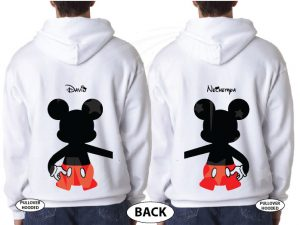 LGBT Couple I'm with Mickey Mouse holding hands big ears head awesome matching Gay sweaters gifts for him his birthday day etsy store 5xl, married with mickey, white unisex pullover hoodies