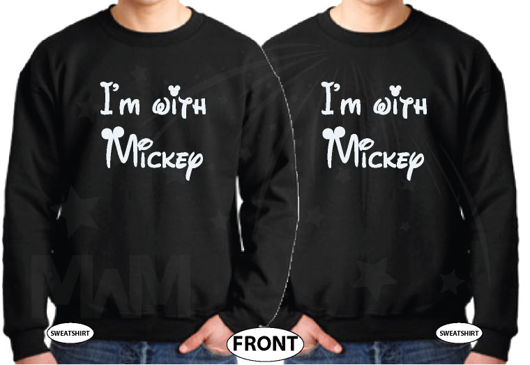LGBT Couple I'm with Mickey Mouse holding hands big ears head awesome matching Gay sweaters gifts for him his birthday day etsy store 5xl, married with mickey, black unisex sweaters