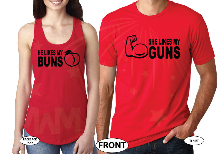 She likes my guns and He likes my Buns funny matching cool couples sweaters custom cheap on sale plus size 5XL etsy store proposal gift idea, married with mickey, red ladies tank and mens tee