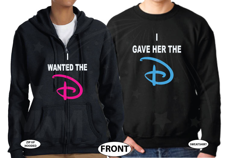 I wanted the D I gave her the D funny matching couple shirts, married with mickey, black sweaters