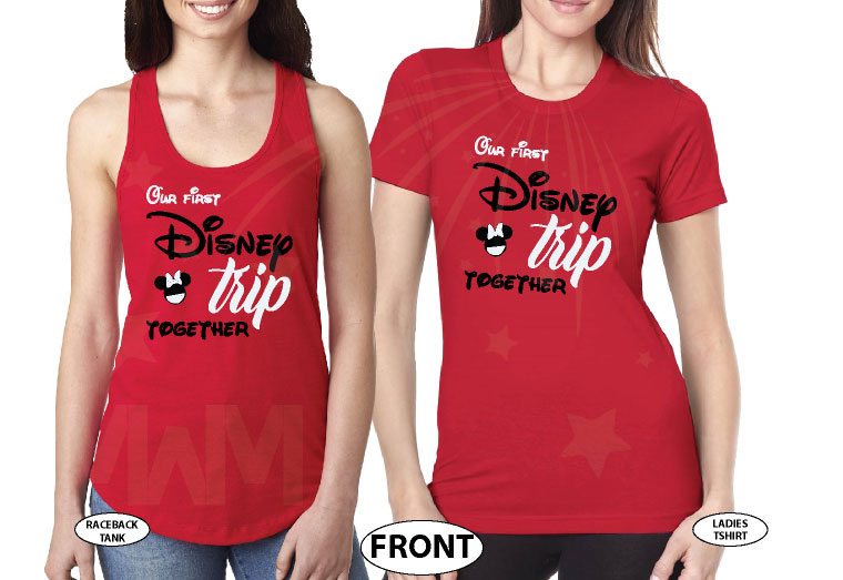 LGBTQ matching Lesbians Disney couple shirts with mini Minnie Mouse cute kiss and Our first Disney trip together disneymoon honeymoon tanks, married with mickey, mix and match red ladies tee and tank